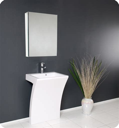 Fresca Quadro White Pedestal Sink W Medicine Cabinet Modern Sinks For Bathroom