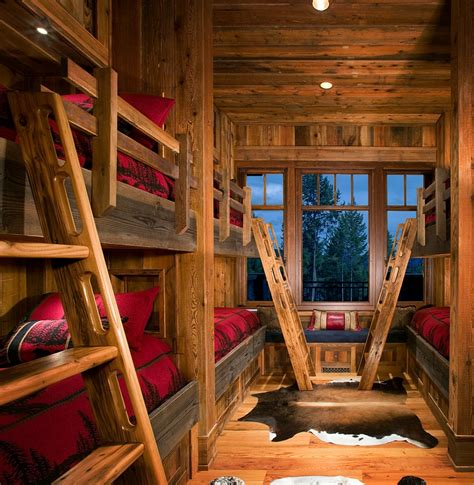 Bring the mountain cabin look home with a rustic kids bedroom design