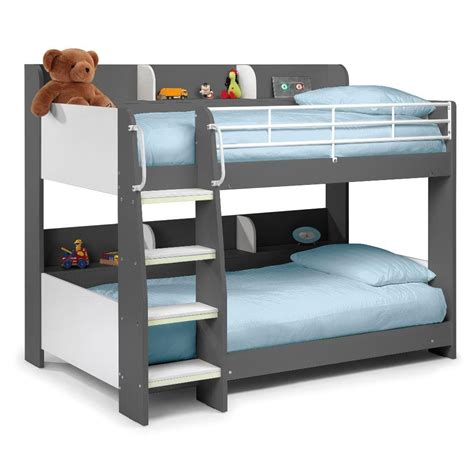 childrens bunk bed with futon domino grey wooden and metal kids storage bunk bed