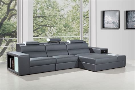 grey sectionals polaris mini contemporary grey bonded leather sectional sofa