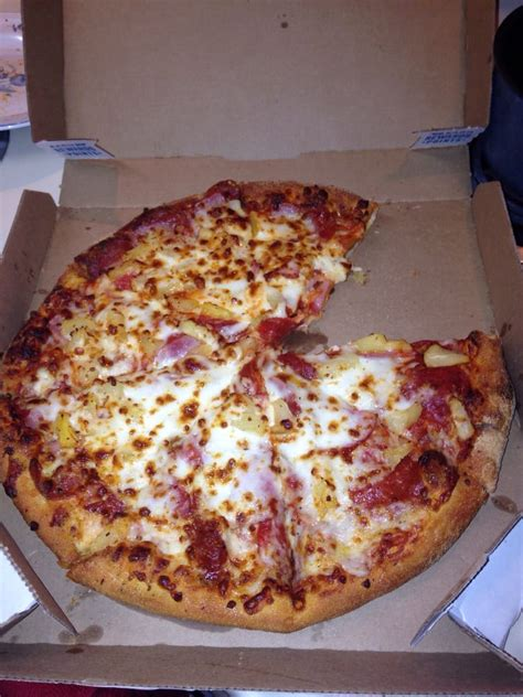 domino pizza cheese new fave pepperoni ham and pineapple but of course