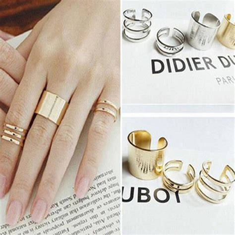 3 pcs gold silver rings anillos stack plain
