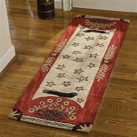 Country Home Designs folk crow hooked rug runner