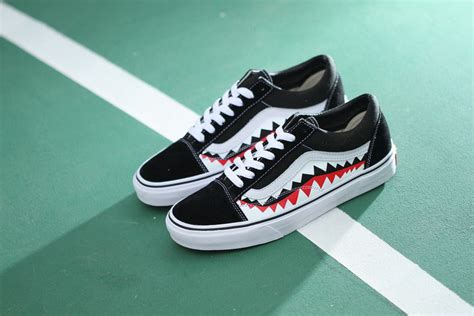 Vans Oldskool Bape White Shark Mouths vans skool vans skool black vans skool pro