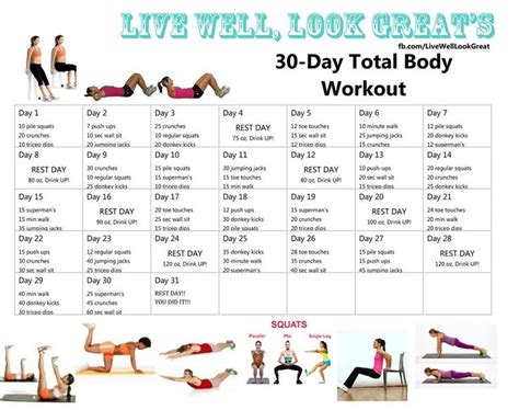 at home workout plan for women 30 day workouts 30 day and workout on pinterest