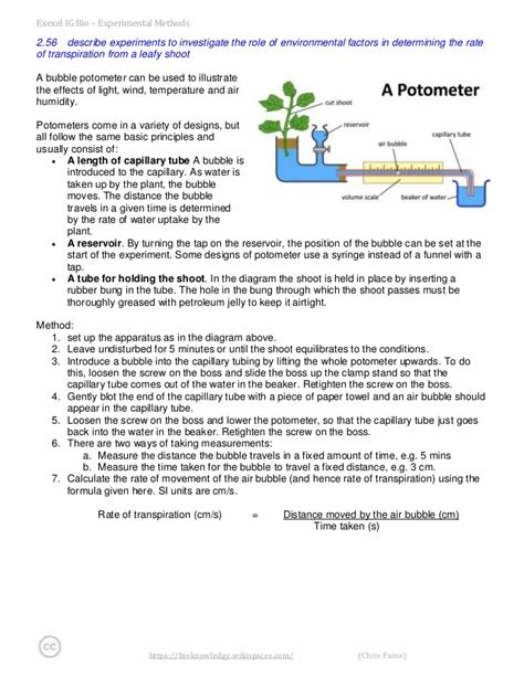 design experiment rate of transpiration edexcel igcse biology experimental method notes