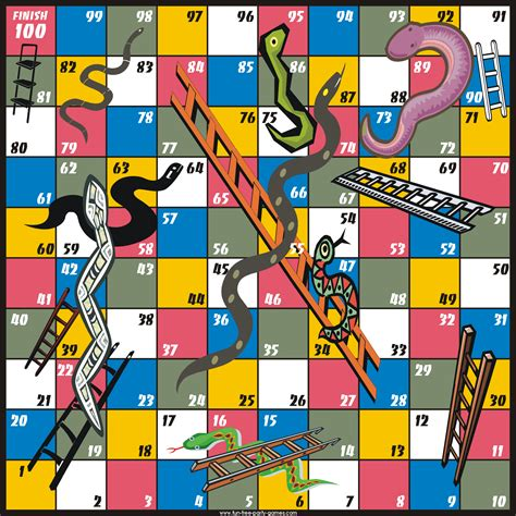 free snakes and ladders game board free printable game