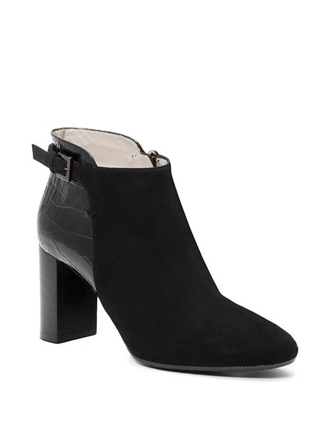 aquatalia vela leather and suede ankle boots in black lyst