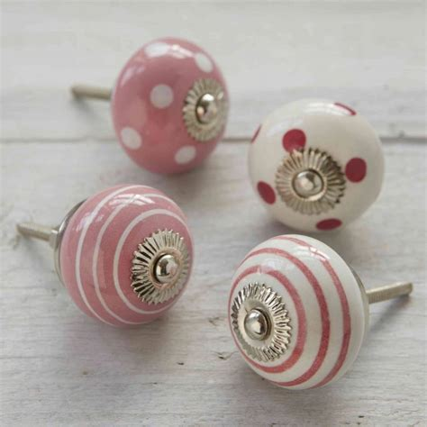 Pushka Door Knobs by Pink And White Ceramic Decorative Cupboard Door Knobs By