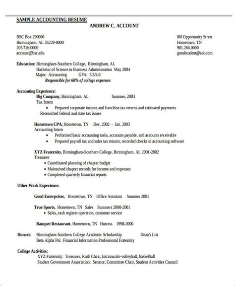 Bookkeeper Resume Sles by 26 Accountant Resume Format