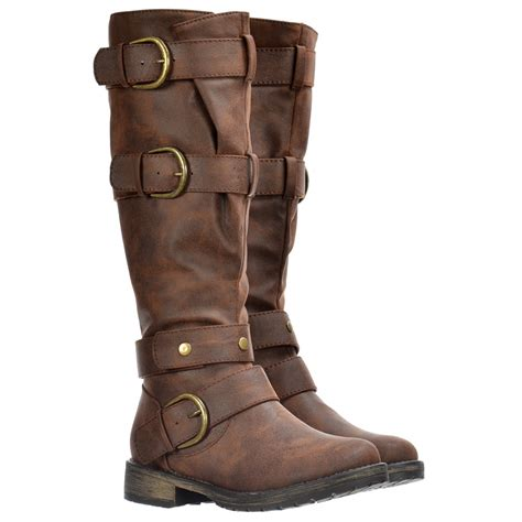 dolcis knee high biker boots with buckles and studs