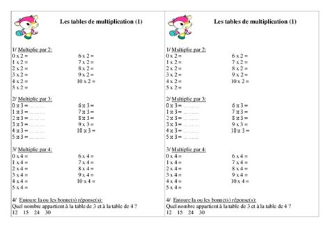 tables de multiplication ce1 exercices calcul
