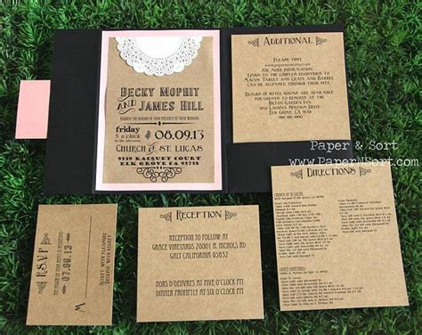 pocket wedding invitations with inserts rustic wedding invitation pocket fold papernsort