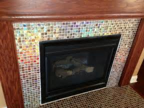 Glass Mosaic Fireplace Surround by Shimmery Glass Mosaic Tile Fireplace Surround Diy