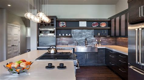 Dark hardwood floors with dark cabinets, industrial modern
