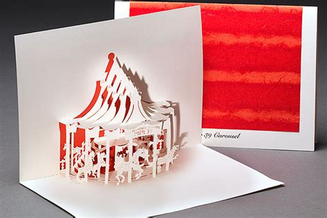 diy carousel pop up card template pier 39 carousel origami architecture pop up cards by