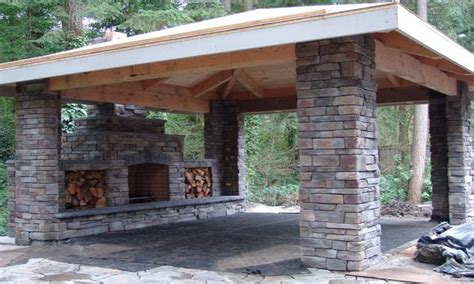 outdoor stone patios small covered outdoor fireplaces