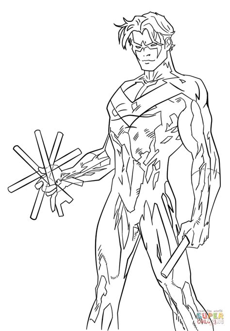 color of justice justice nightwing coloring page free printable