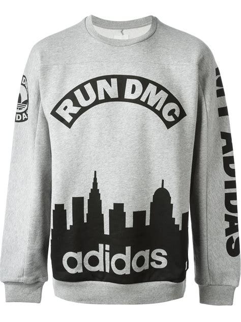 T Shirt Run Dmc Adidas Grey lyst adidas run dmc sweatshirt in gray for