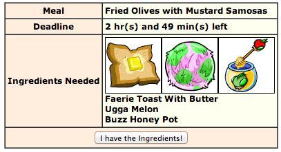 neopets kitchen quests log fried olives  mustard