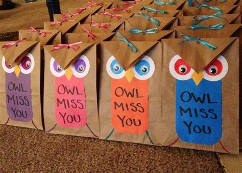 gift ideas for classroom students made these owl gift bags fill them with toys and mini play dough for my sons primary