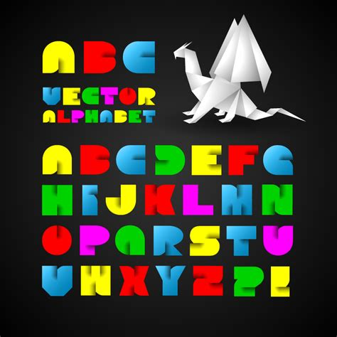 colorful origami alphabet vector set