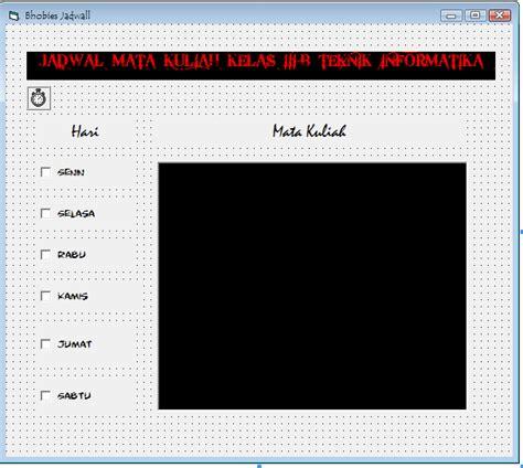membuat database jadwal kuliah membuat jadwal mata kuliah pada visual basic cyber blog