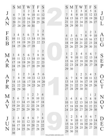 Yearly Calendar 2019 Printable 2019 Calendar Templates Free Printable Calendars