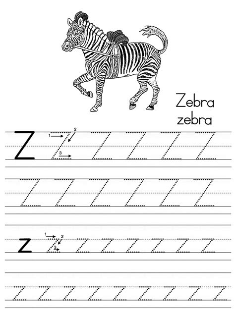 Z Zebra Coloring Page by Free Tracing And For Alphabet Coloring Pages