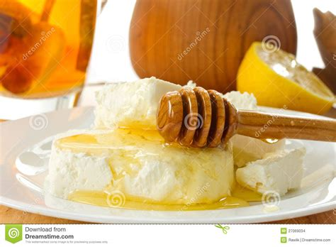 milk cottage cheese with honey stock images image 27069034
