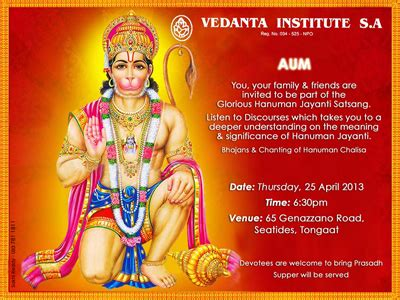 significance of hanuman jayanti how vedanta institute sa seatides tongaat south africa
