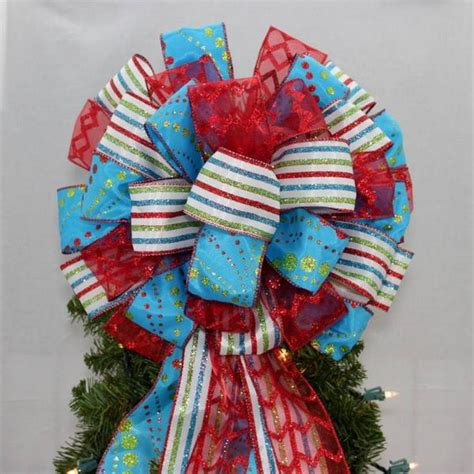 blue christmas tree bows tree topper bows package bows