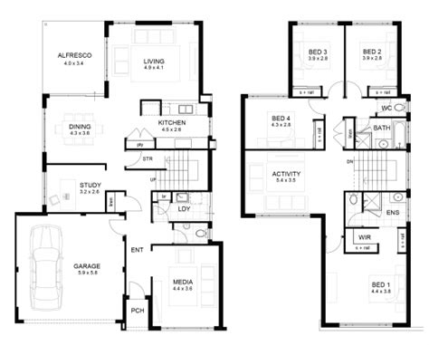 two storey floor plan stylish double storey 4 bedroom house designs perth apg