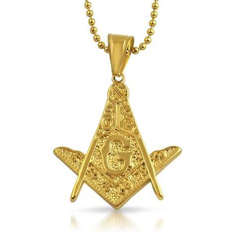 masonic detailed medium free pendant gold steel