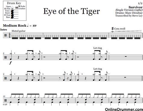 printable lyrics eye of the tiger eye of the tiger survivor drum sheet music