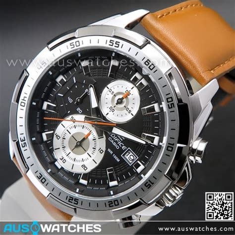 Casio Edifce Efr 539 Brown Leather1 buy casio edifice chronograph genuine leather band mens watches efr 539l 1bv efr539l buy