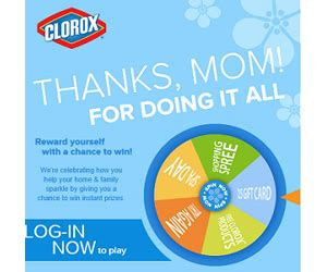 Clorox Sweepstakes - clorox wheel of thanks instant win game and sweepstakes sweepstakes and more at