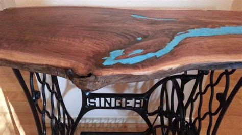 live edge table with turquoise inlay handmade live edge walnut entry table with turquoise inlay