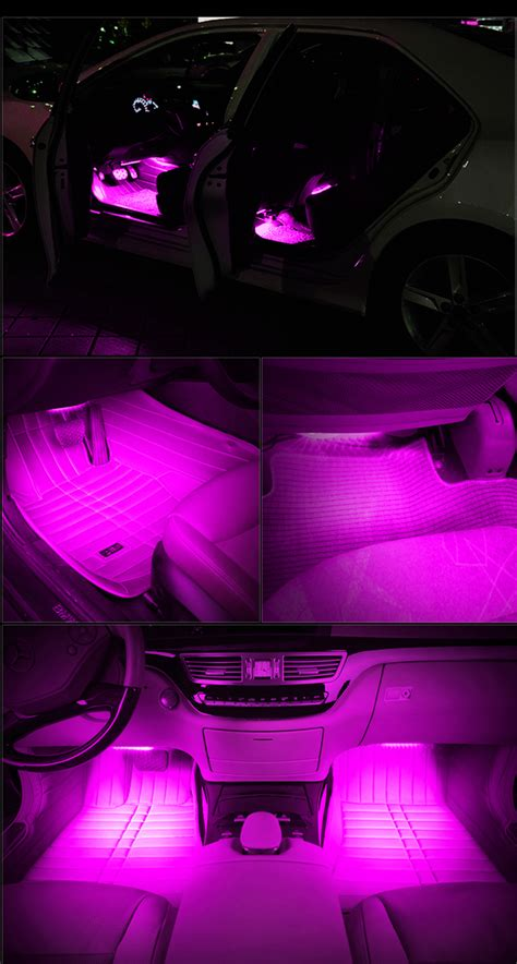 Pink Interior Car Lights by On Led Car 4 In1 Atmosphere Decorative Light Pink Glow