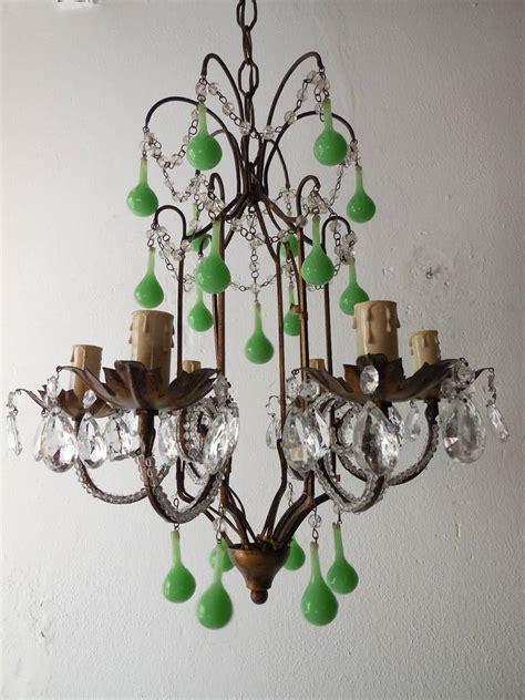 green beaded chandelier tole green opaline drops beaded chandelier