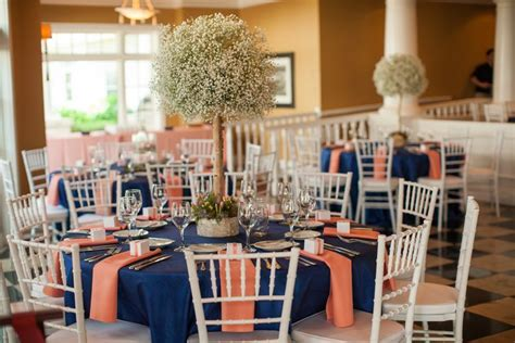 navy and coral wedding centerpieces navy and coral reception table linens with baby s