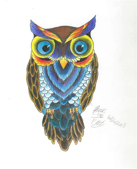 owl tattoo in color owl color practice by tattoofox on deviantart