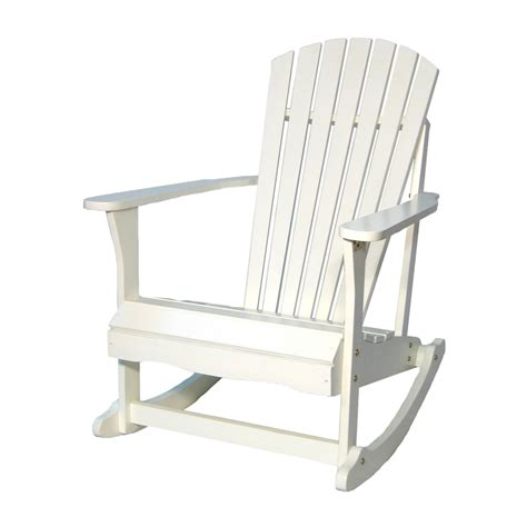 Rocker Patio Chairs Shop International Concepts White Acacia Patio Rocking Chair At Lowes