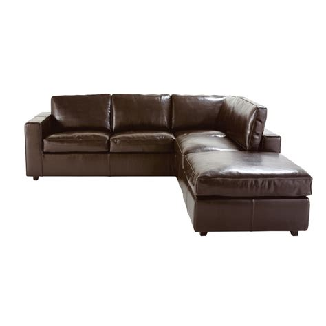 Sofa Bed Leather Brown 5 Seater Split Leather Corner Sofa Bed In Brown Kennedy Maisons Du Monde