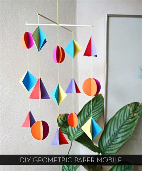 How To Make Paper Mobile - how to make a colorful diy geometric paper mobile curbly