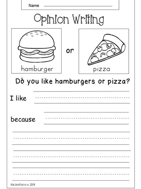 free opinion writing printable kindermomma com