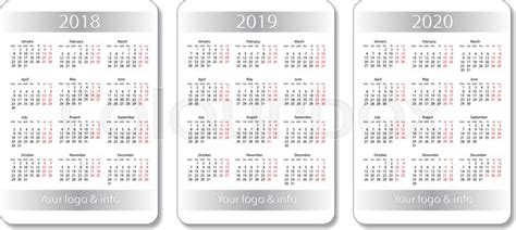 Vector Pocket Calendar Set 2018 2019 And 2020 Years White Design Template Stock Vector Pocket Calendar Template 2018