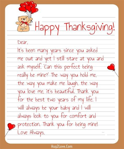 thank you letter to girlfriends thanksgiving letters for him