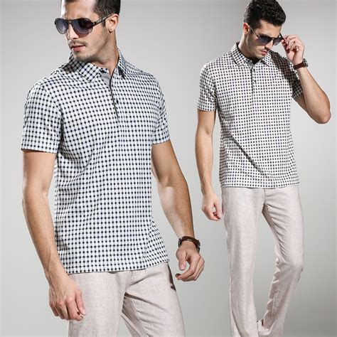 Dress Casual Polo Shirt 2015 summer style quality plaid polo shirt business casual mens polos shirts slim fit