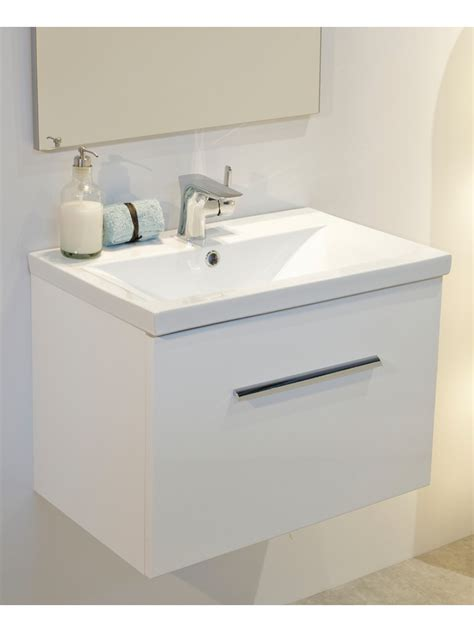 Bathroom Vanity Unit Vanore White Slimline 60cm Wall Hung Vanity Unit Slimline Vanity Units Bathroom Furniture